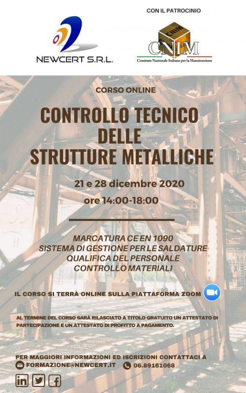 La locandina del corso Controllo tecnico delle strutture metalliche.